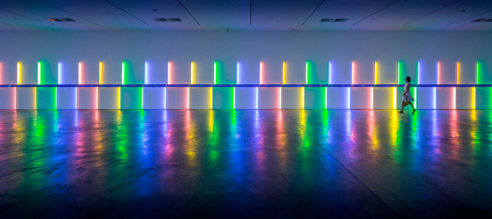 Site-specific installation by Dan Flavin, 1996, Menil Collection