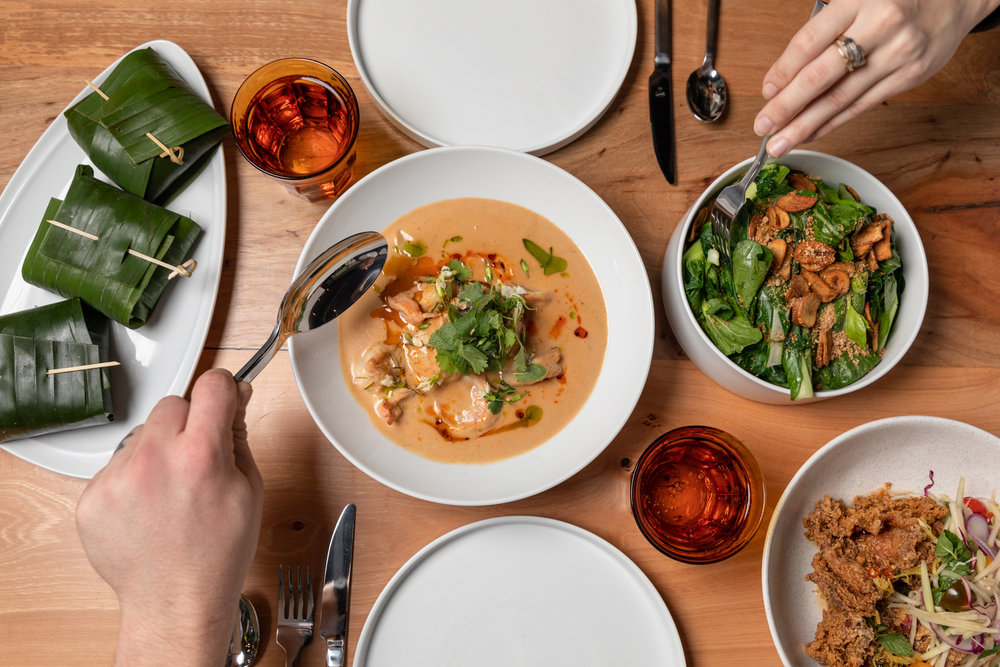 Chu Che Curry, Thai Style Fried Chicken, Baby Bok Choy, Rice - photo by Shawn Chippendale.jpg