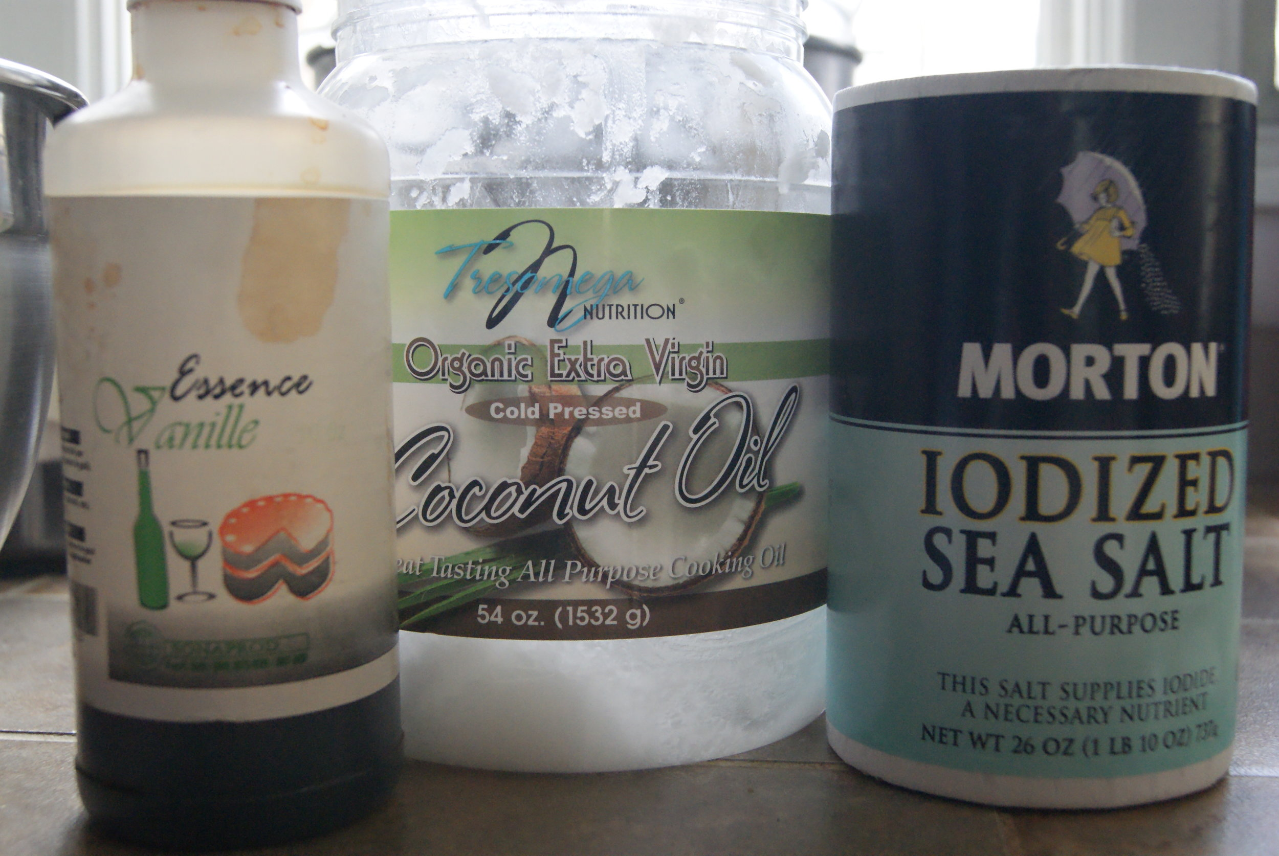 Vanilla from Jason's Haiti trip, along with the coconut oil and sea salt I used