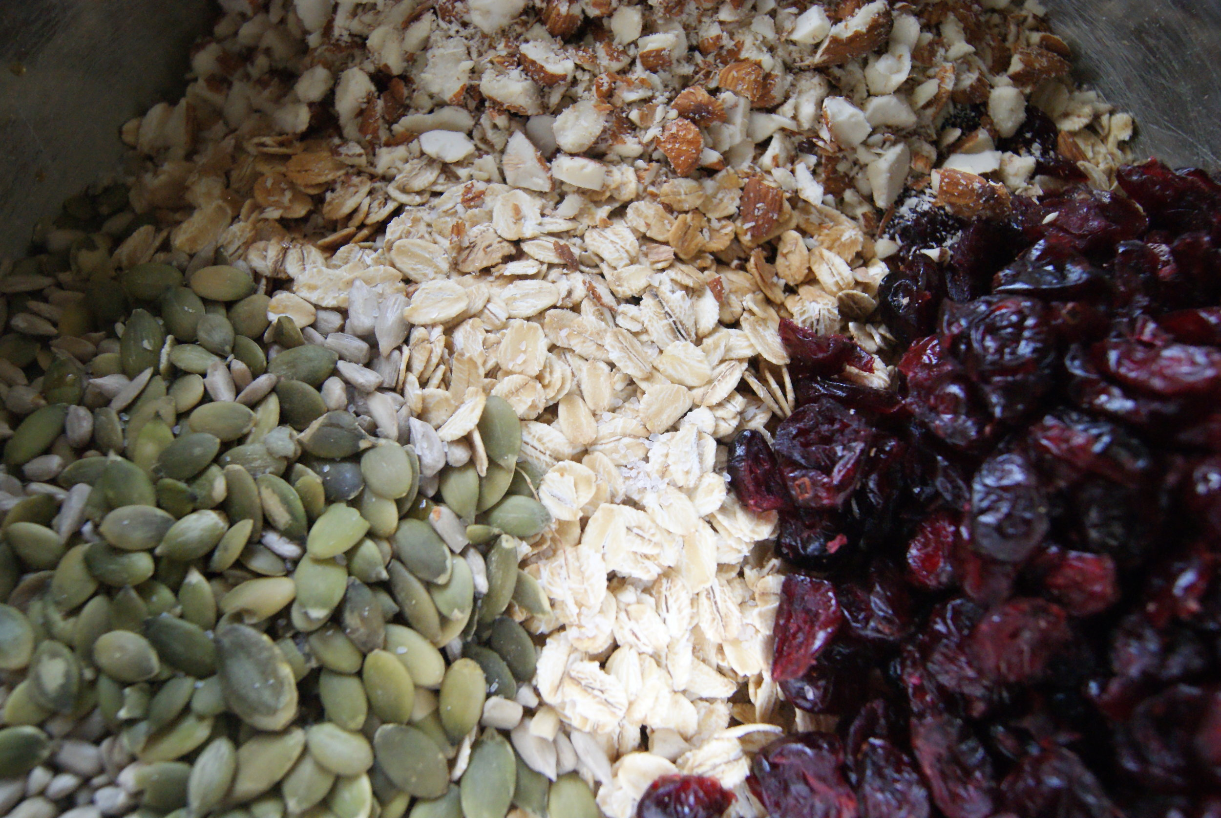 The pretties: chopped almond, dried cranberries, rolled oats and raw pumpkin seeds + a few raw sunflower seeds