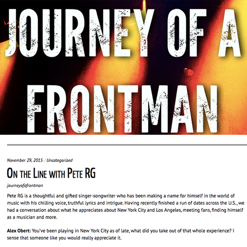 Journey Of A Frontman   November 2015