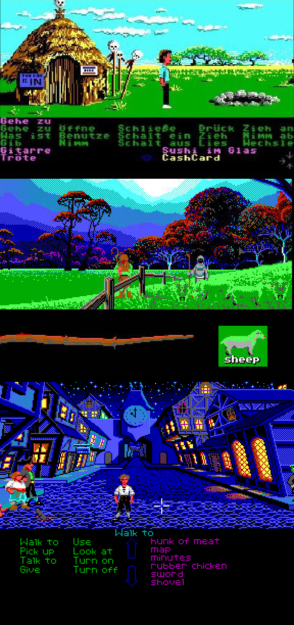A checkered past - Before the Chaosium job was even finished, Mark had been hired by Lucasfilm Games, and seduced to the dark side, (ie: computer games), doing EGA background graphics for such now-classic point-and-click adventure games as Zak McKracken and the Alien Mindbenders, Loom, and The Secret of Monkey Island, during which he helped perfect the old-school technique of 'pixel dithering.'