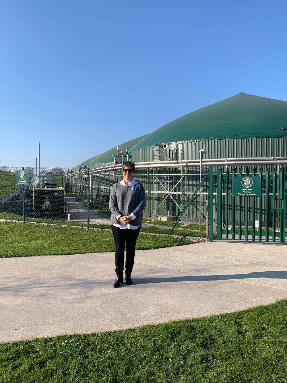 Allison Clark outside Wyke Farms Sustainable Energy Centre in England.