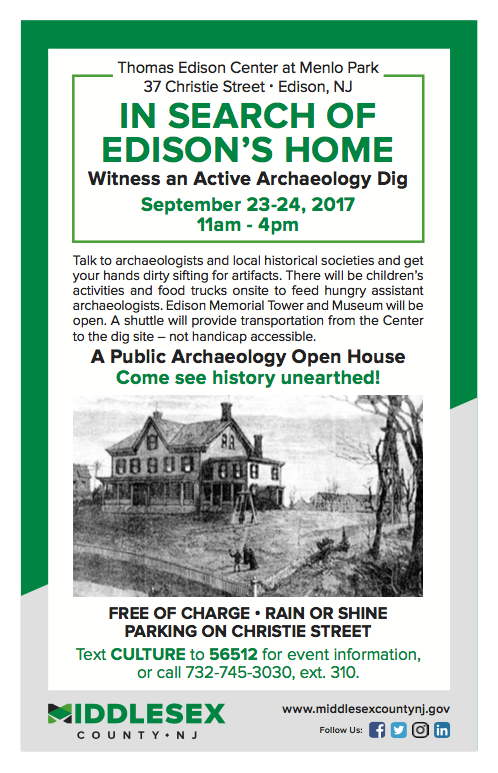 Thomas Edison Home Site, Archaeological Dig and Public Tours