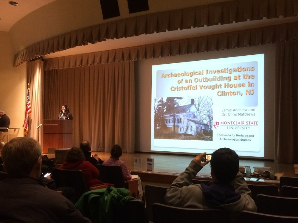 """Archaeological Investigation of an Outbuilding at the Cristoffel Vought House in Clinton, NJ""  Presented by Jamie Ancheta (Monmouth University), co-authored by Chris Mathews (Montclair State University)."