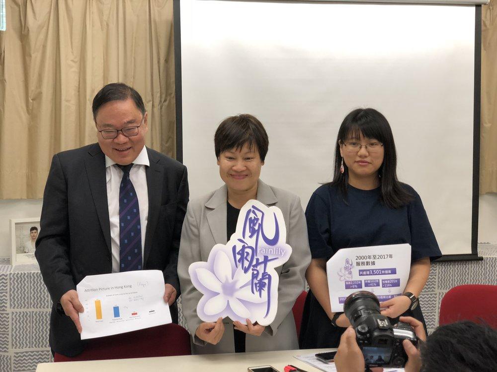 左起:香港大學病理學系法醫科副教授馬宣立、風雨蘭總幹事王秀容、香港大學病理學系研究助理陳希彤