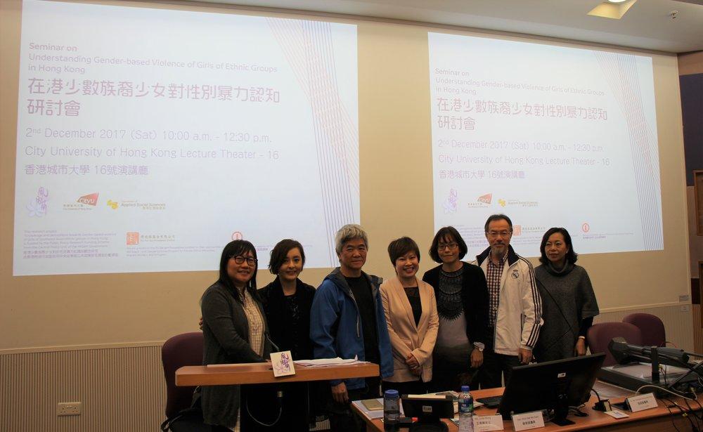 左起:霍婉紅、碧樺依教授、陳錦華博士、王秀容、林思嫺、張超雄議員、麥美娟議員