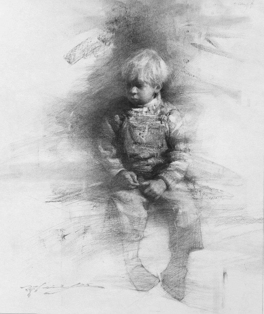 Little Boy in Gallus Trousers