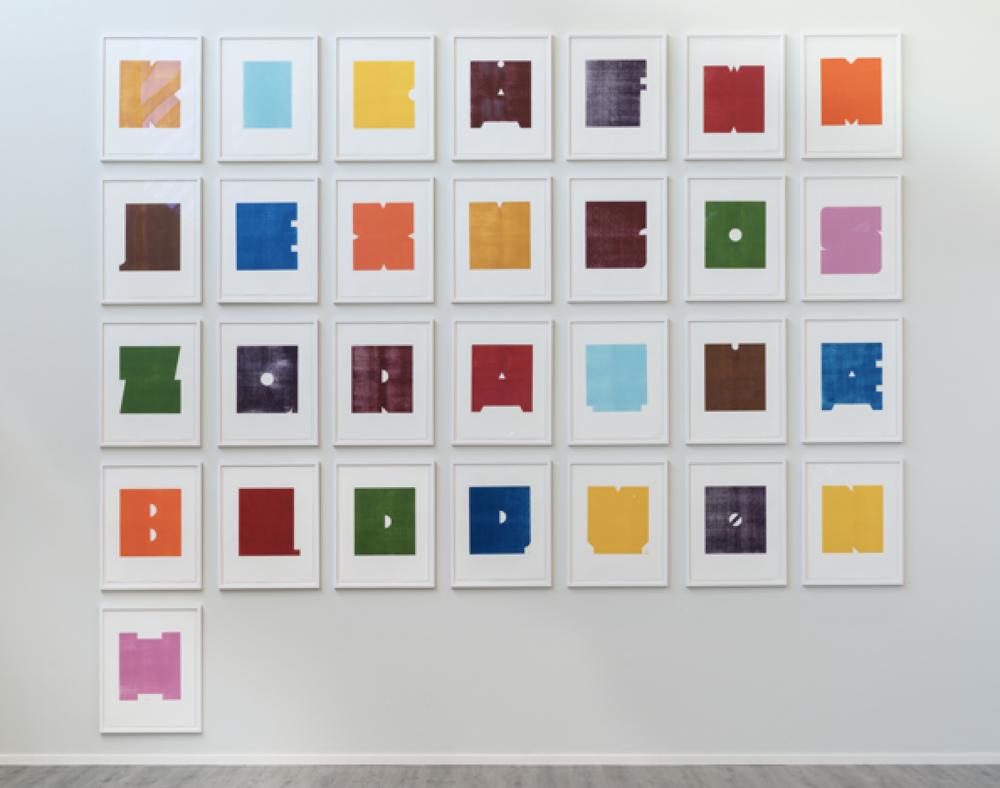 Et utvalg av hva du kan se hos Dropsfabrikken under Grafikkmessen 2019: Gerd Tinglum: Nytt fargealfabet, 2018, 29 deler, tresnitt på papir, 64 x 50 cm