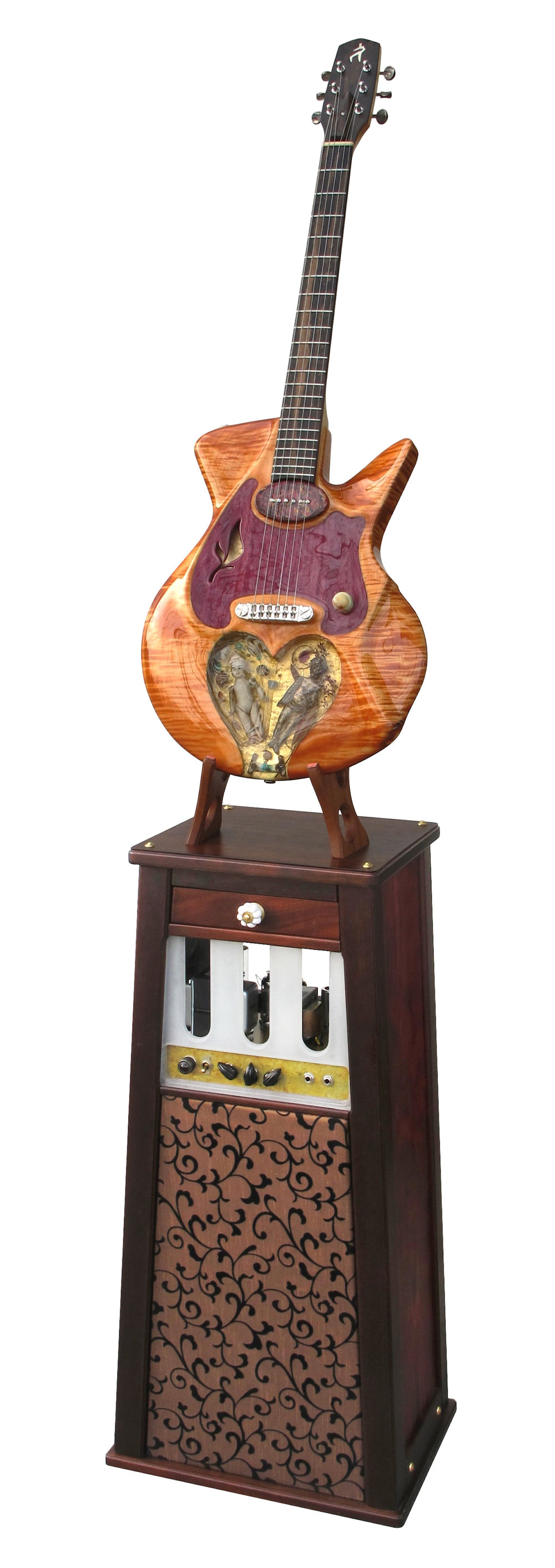 Mixed media; guitar & stand with custom amp