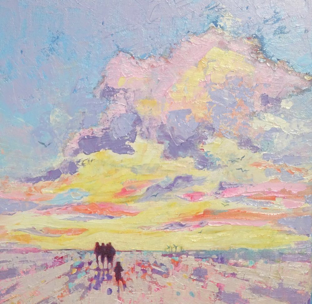 Trailing Behind - subtle blues, pinks and creams provide the backdrop for this little family walking home after a long day, with a stray child trailing behind.Oil paints on studio wrapped canvas 40 x 40 cm.