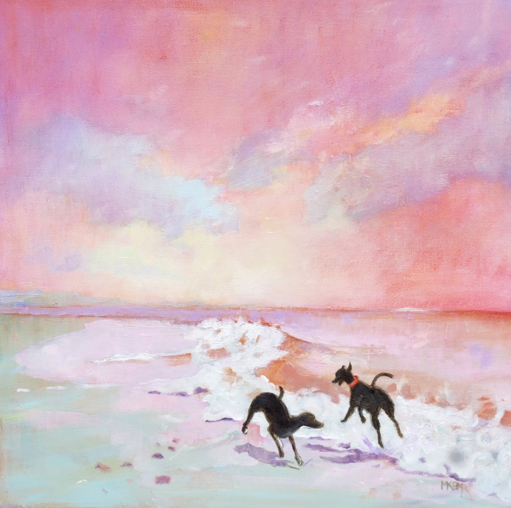 d11 mary kemp Two Whippets Playing in the Surf canvas panel 30 x 30 cm (7).JPG
