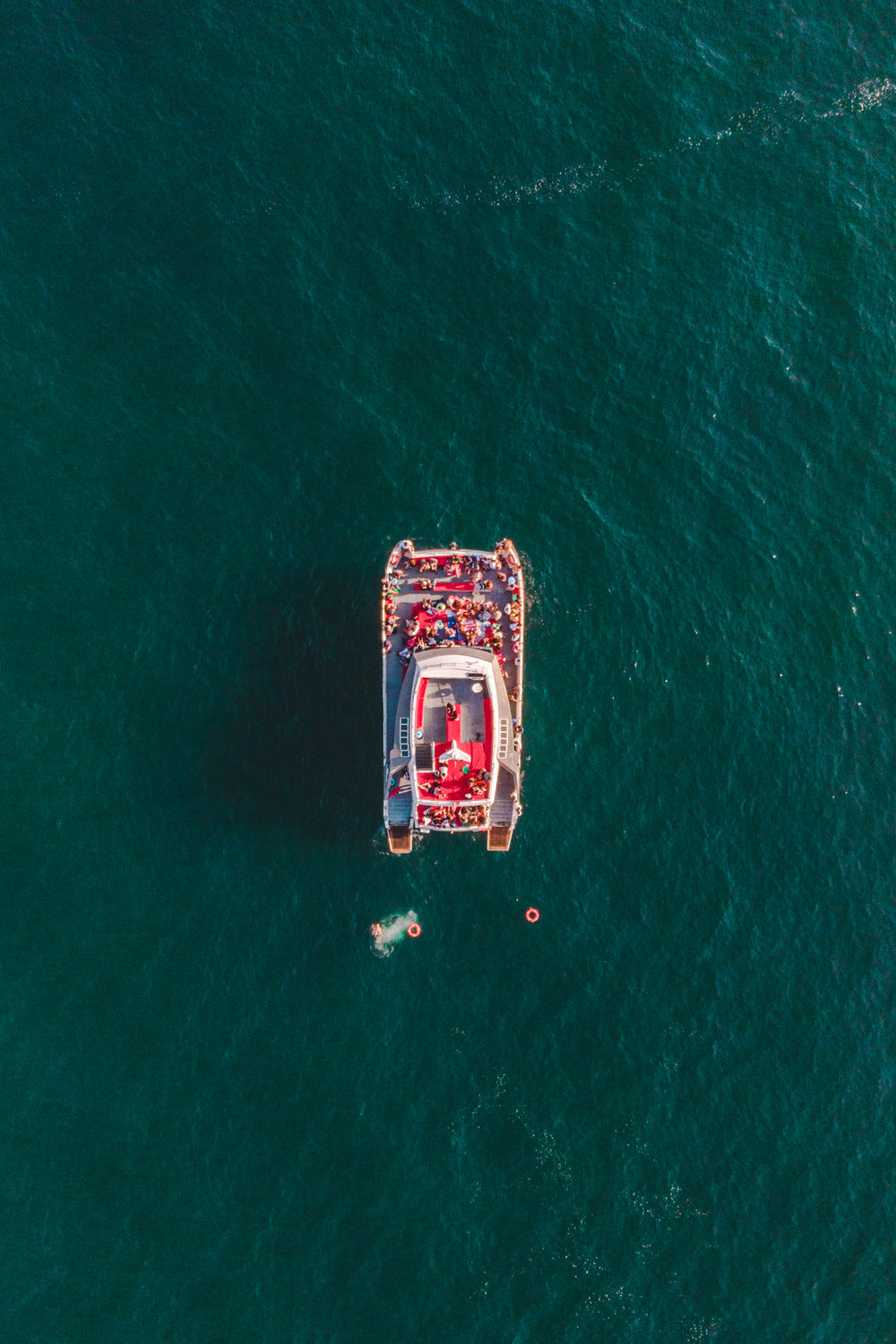 Aerial view of a party boat.