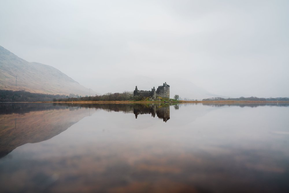 Scotland castle with refection.