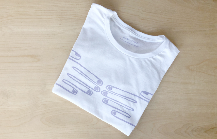 The Hands On tee. #HandsOn to check your breasts. Photo courtesy of Jenny Strange.