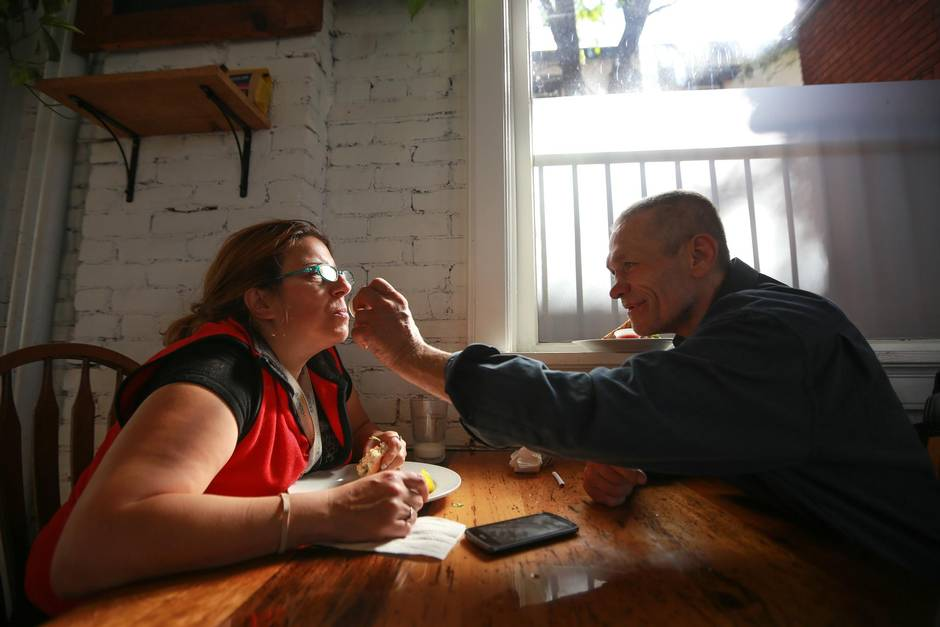 Terry Barron wipes the lips of his friend Joanne Doucet in 541.