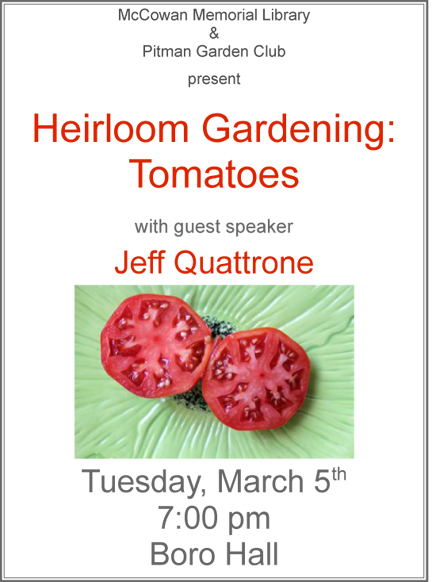 poster for an event about heirloom gardening