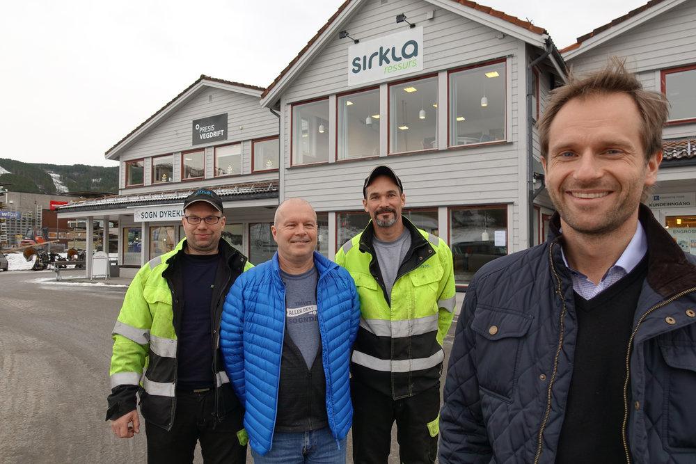 SIRKLA-GJENGEN: Sirkla Ressurs er fire tilsette med kontorplass på Kaupanger. F.v.: Kurt Lerum, Roger Bjelde, Jan Tore Bjørk og Erik Stavø.