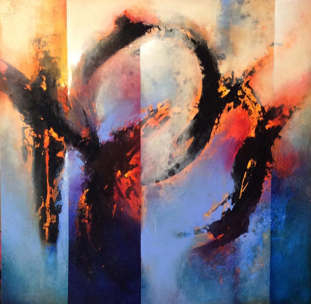 "Desert Fire   24 x 24"" Acrylic on Cradled Board"