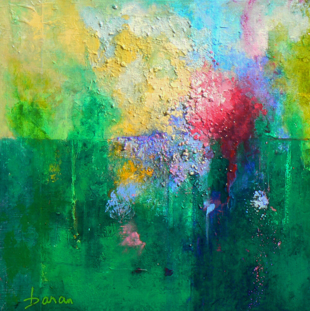 "Bursting into Spring   18 x 18"" Acrylic on Cradled Board"