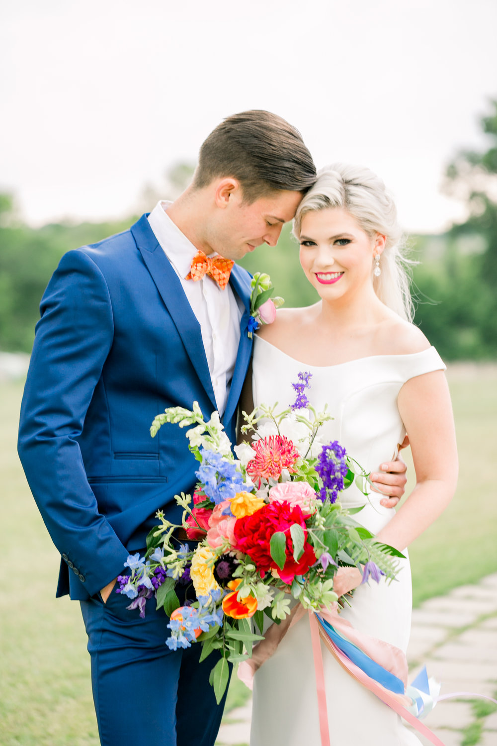 Colorful Wedding Portrait of Bride and Groom