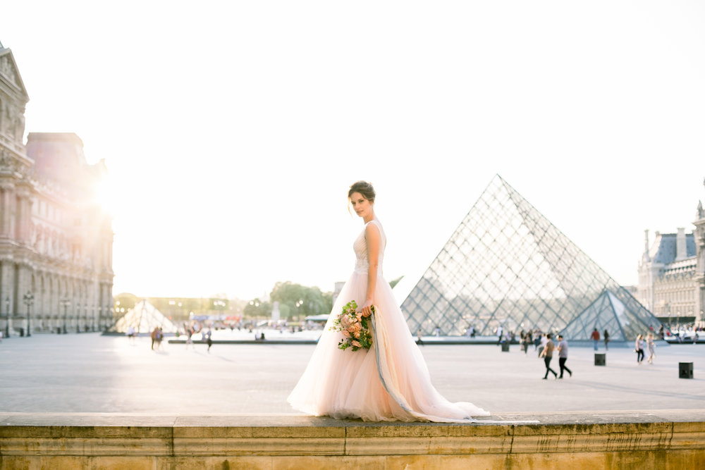 Picture of a Bride by the Louvre Abbie Mae Photography