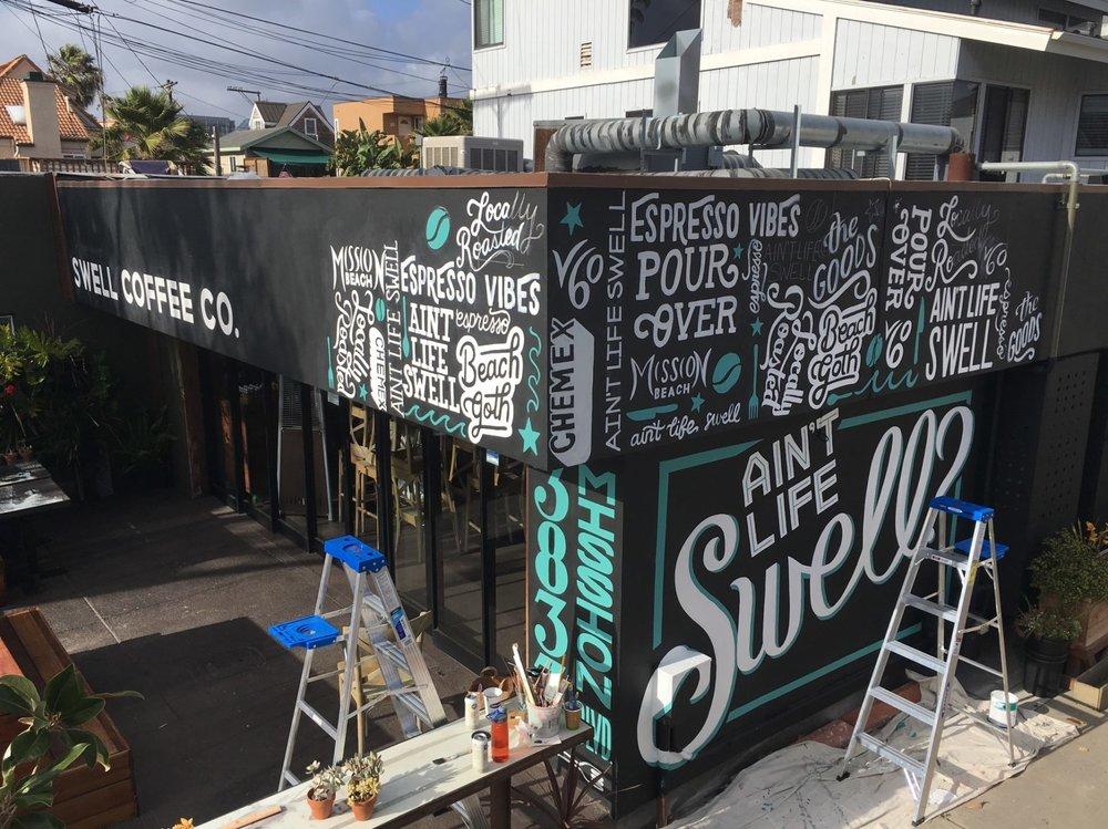 swell coffee mural