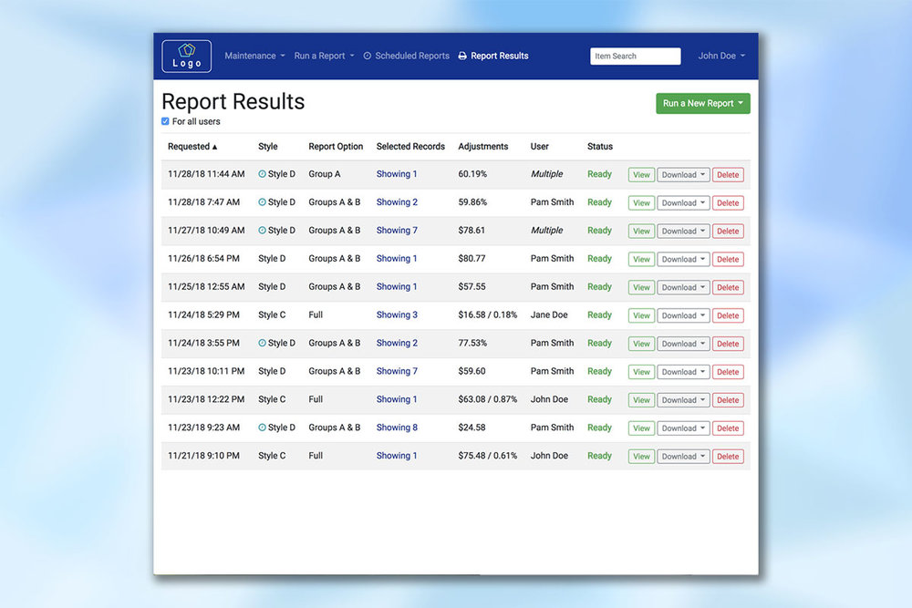 Report results screen summarizing available results to view or download.