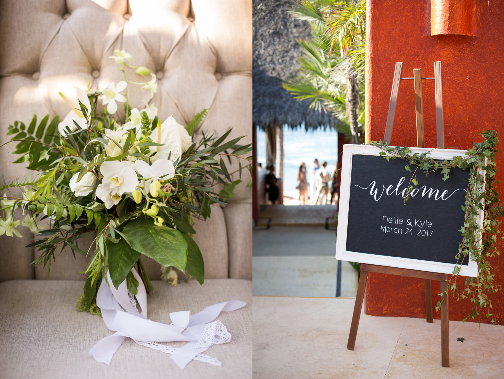bouquet + welcome sign