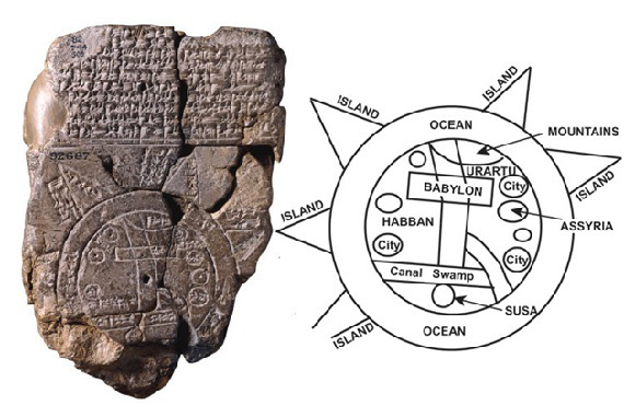"""The Babylonian Map of the World , 600 BCE. The islands are named cool, spooky things like """"place of the rising sun"""" and """"beyond the flight of birds."""""""