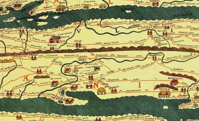 The Tabula Peutingeriana  was a 22-foot-wide scroll boasting the entirety of the Roman road system along with the unconquered lands beyond (road trip with a side of imperialism?)