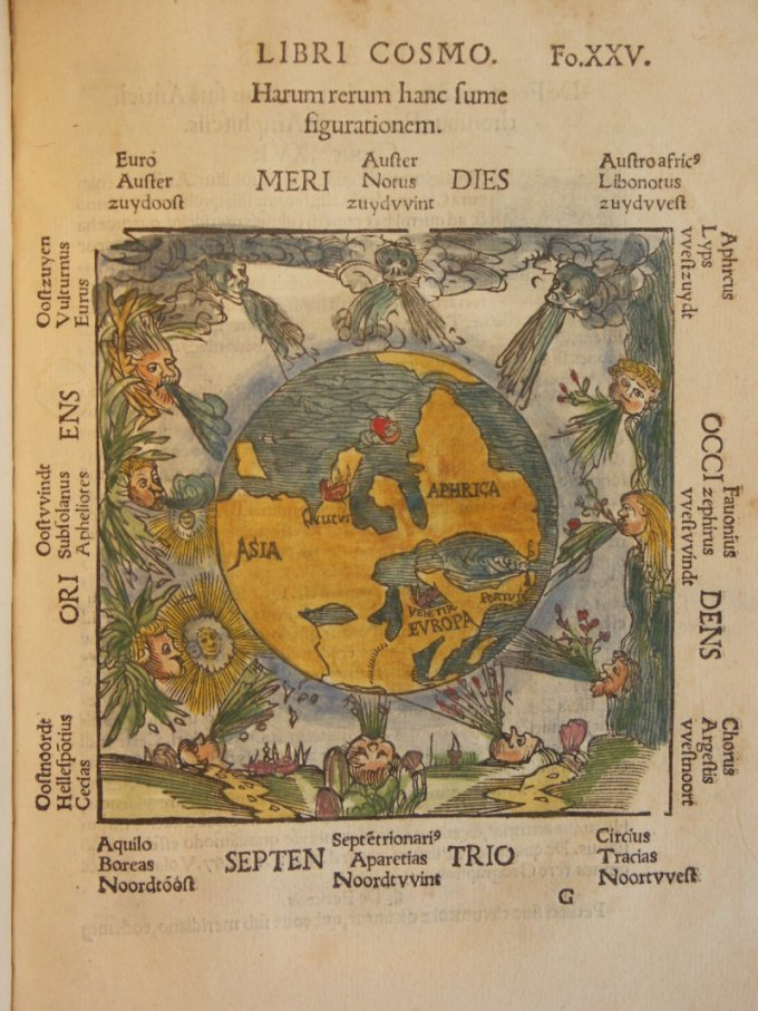 This European map shows the Global South as up. Also, Aphrica.  Cosmographicus Librus (Cosmographia) by Petrus Apianus, 1524.