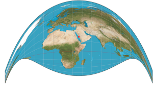 A retro Azimuthal projection centering Mecca,  Mapthematics