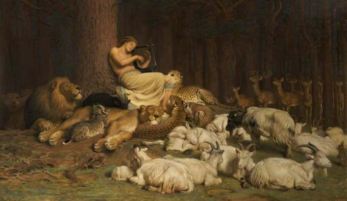 """""""Apollo,""""  Briton Riviere (1874).  Apollo  is the Greek and Roman god of healing, light, music and the arts, poetry, prophecy, and more."""