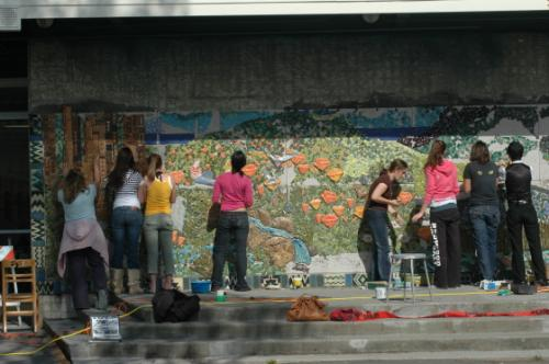 installation of mosaic mural at Redwood High