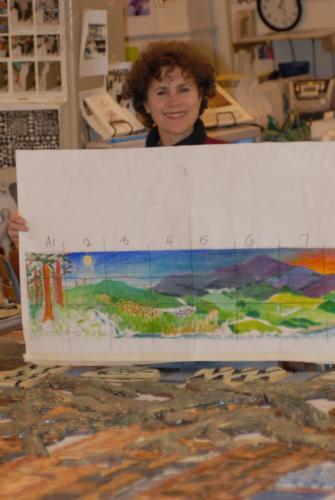 Liz Lauter with original design for mural