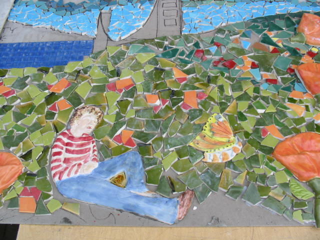 close up of part of the mosaic mural