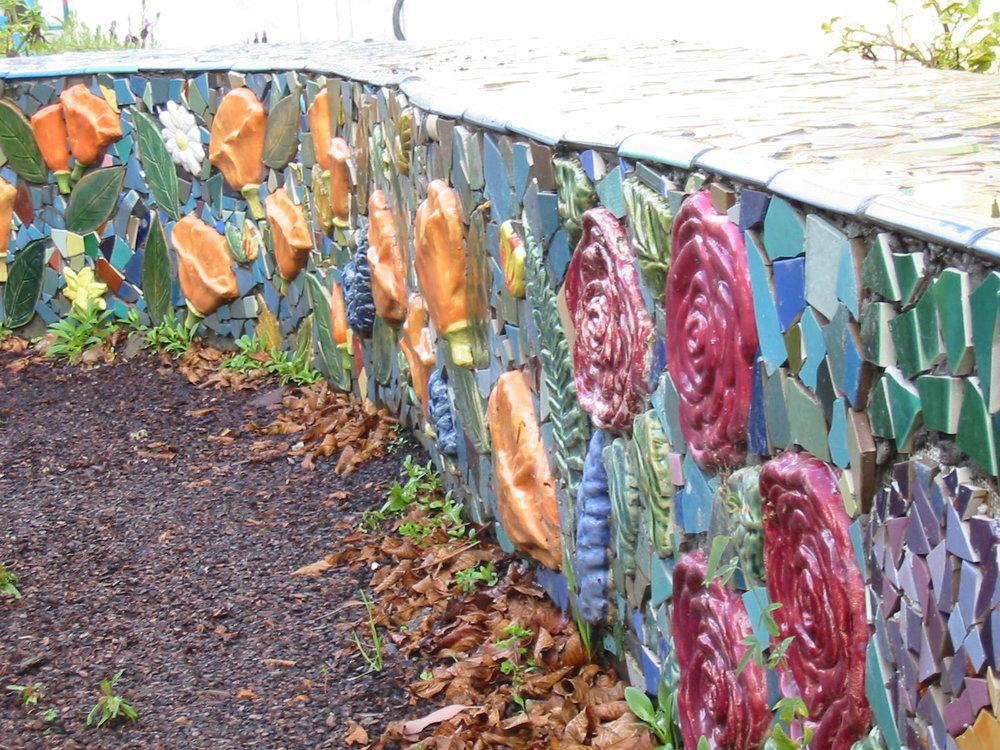 Tile bench in the Art Garden at Redwood