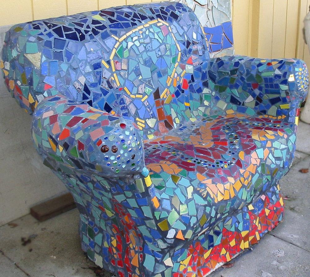 mosaic bench in Art Garden