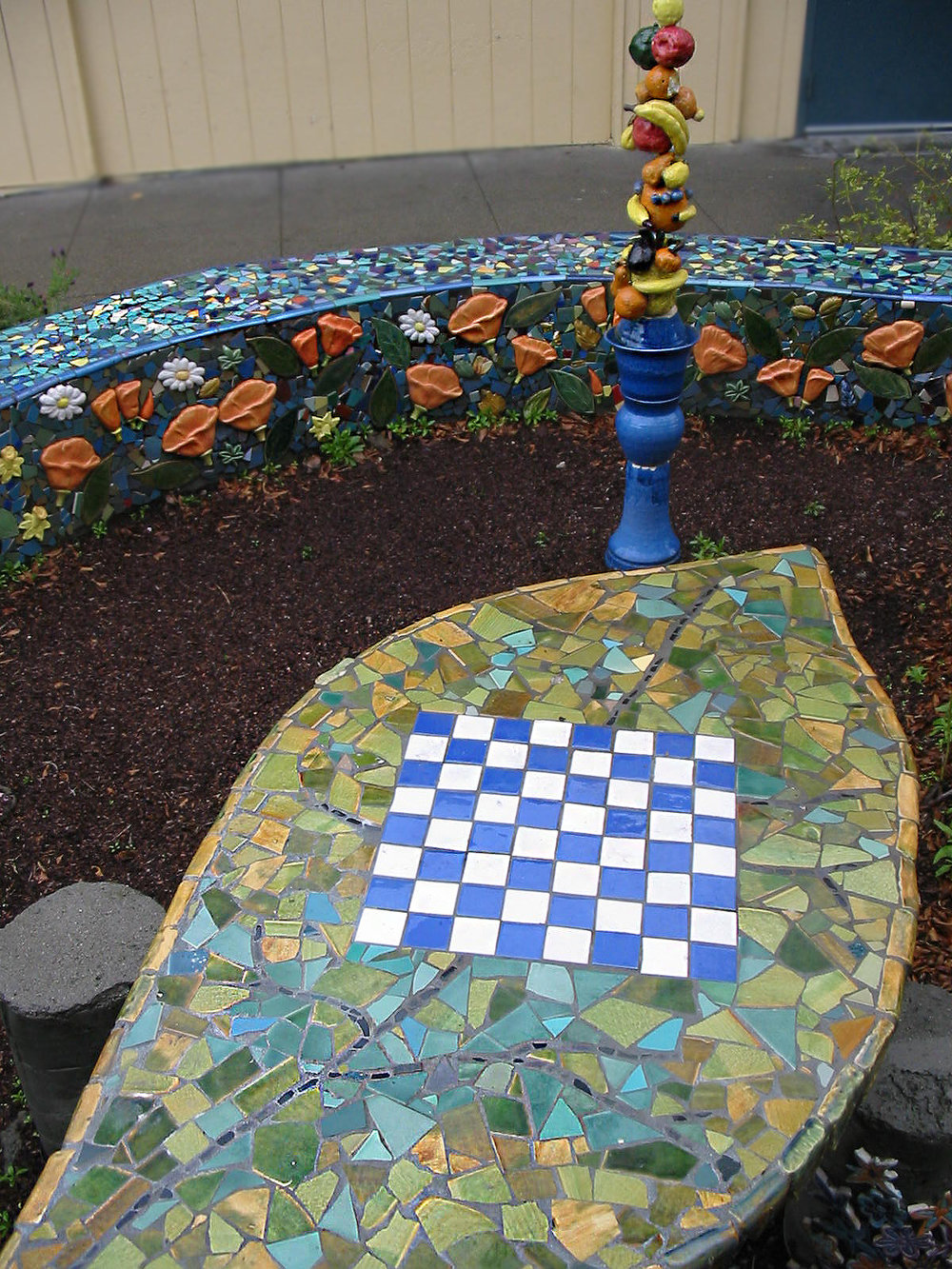 hand made tile table in the Art Garden