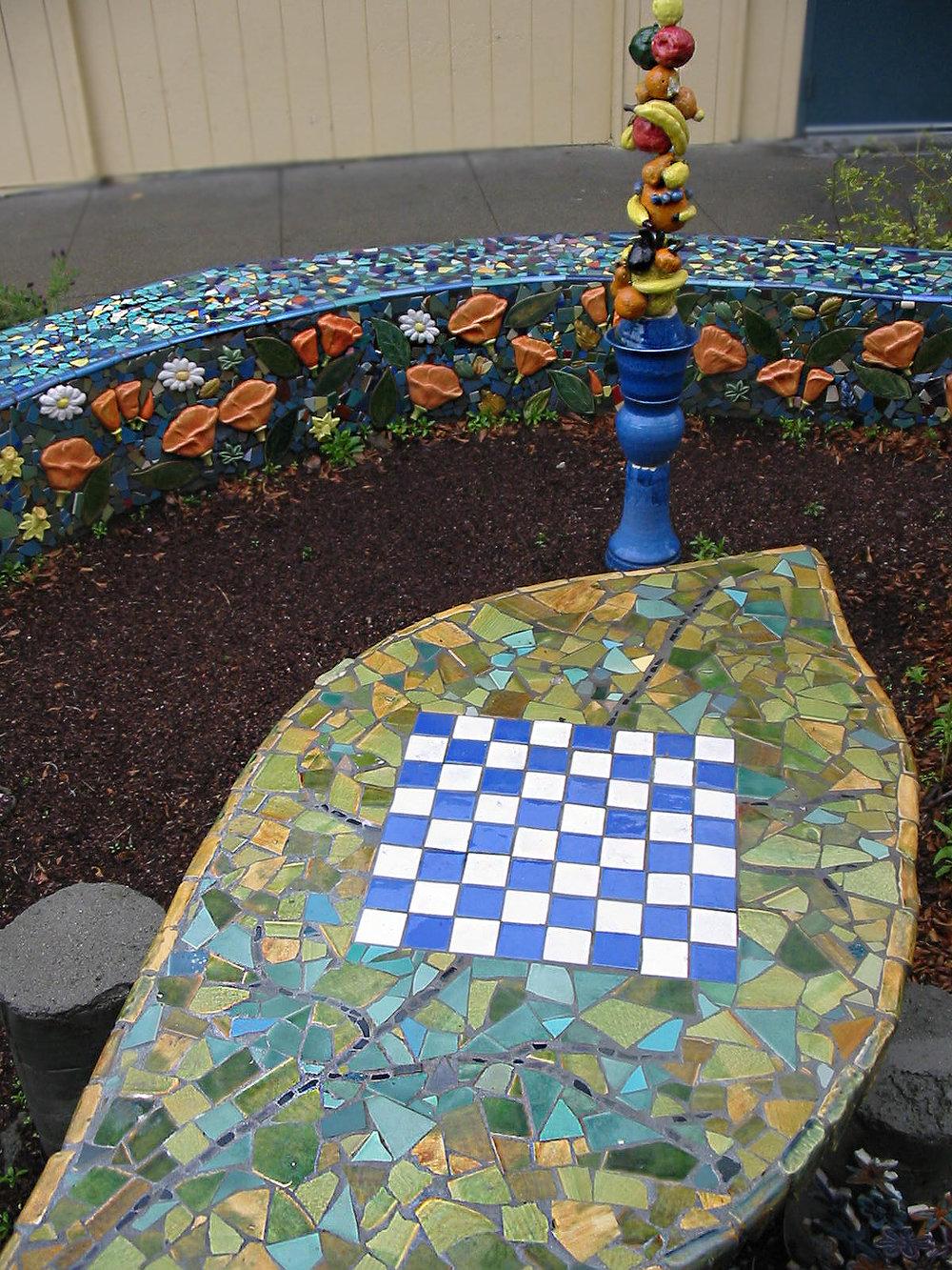 hand made tile table in the Art Garden