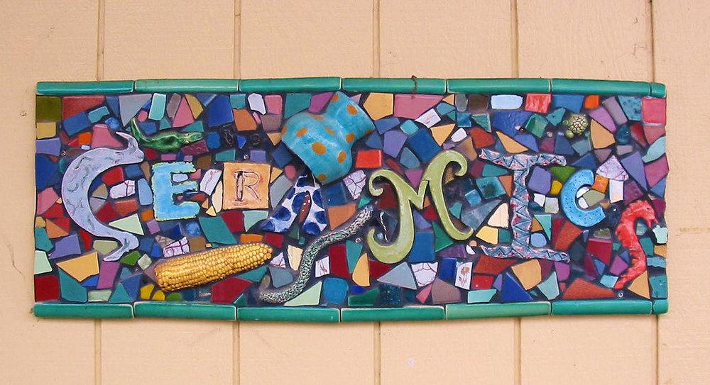 CERAMICS sign outside of Liz Lauter's Ceramics classroom