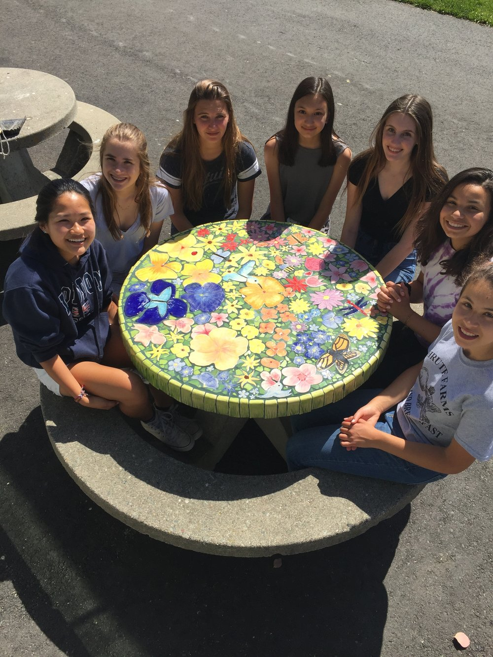 completed tile table and artists who made it