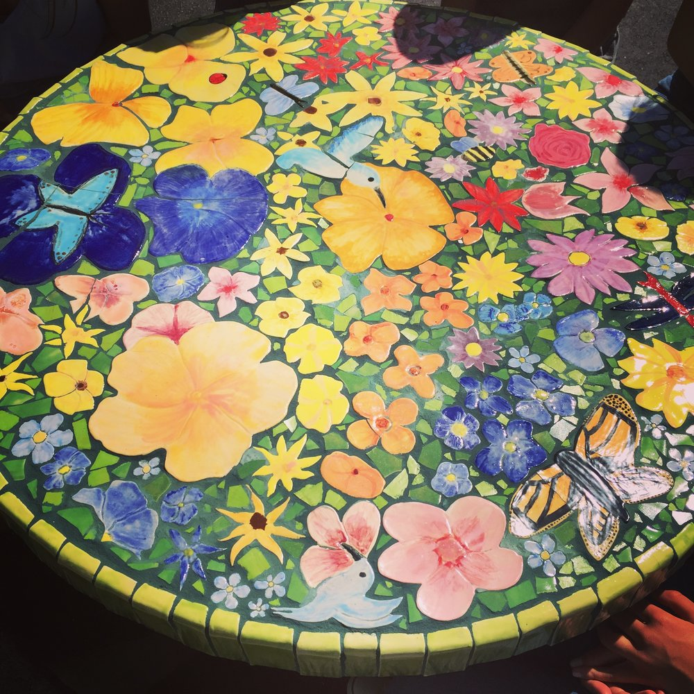 close up of tile table