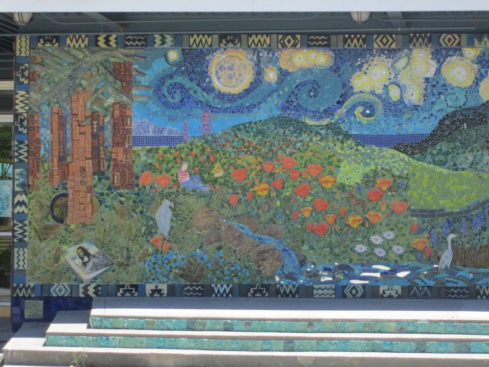 left side view of large mosaic mural at Redwood High