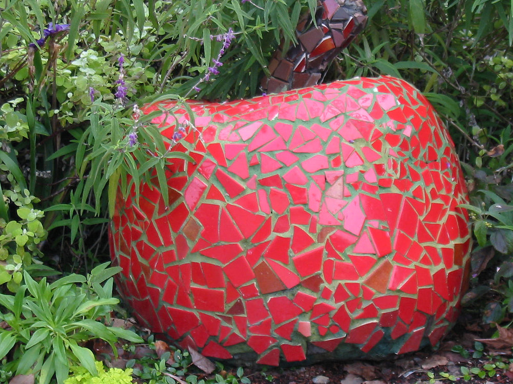 Giant mosaic apple at entrance to Art Garden