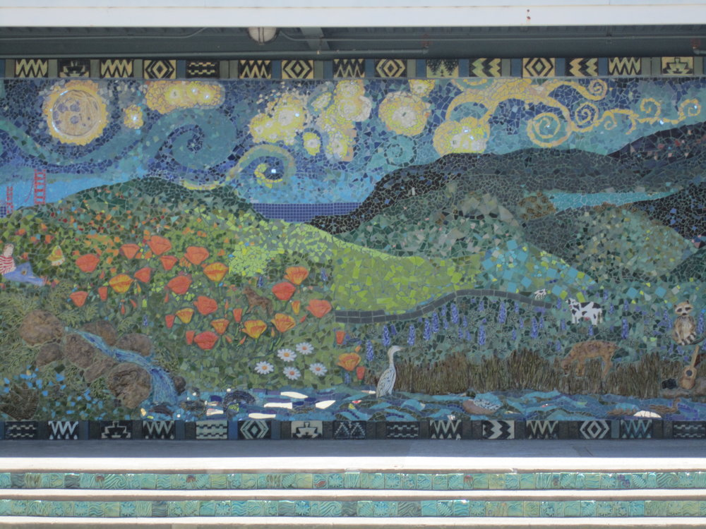 center view of mosaic mural at Redwood High