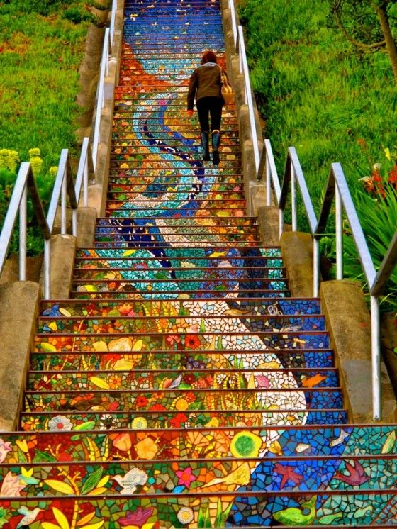 Aileen Barr's 16th street steps installation