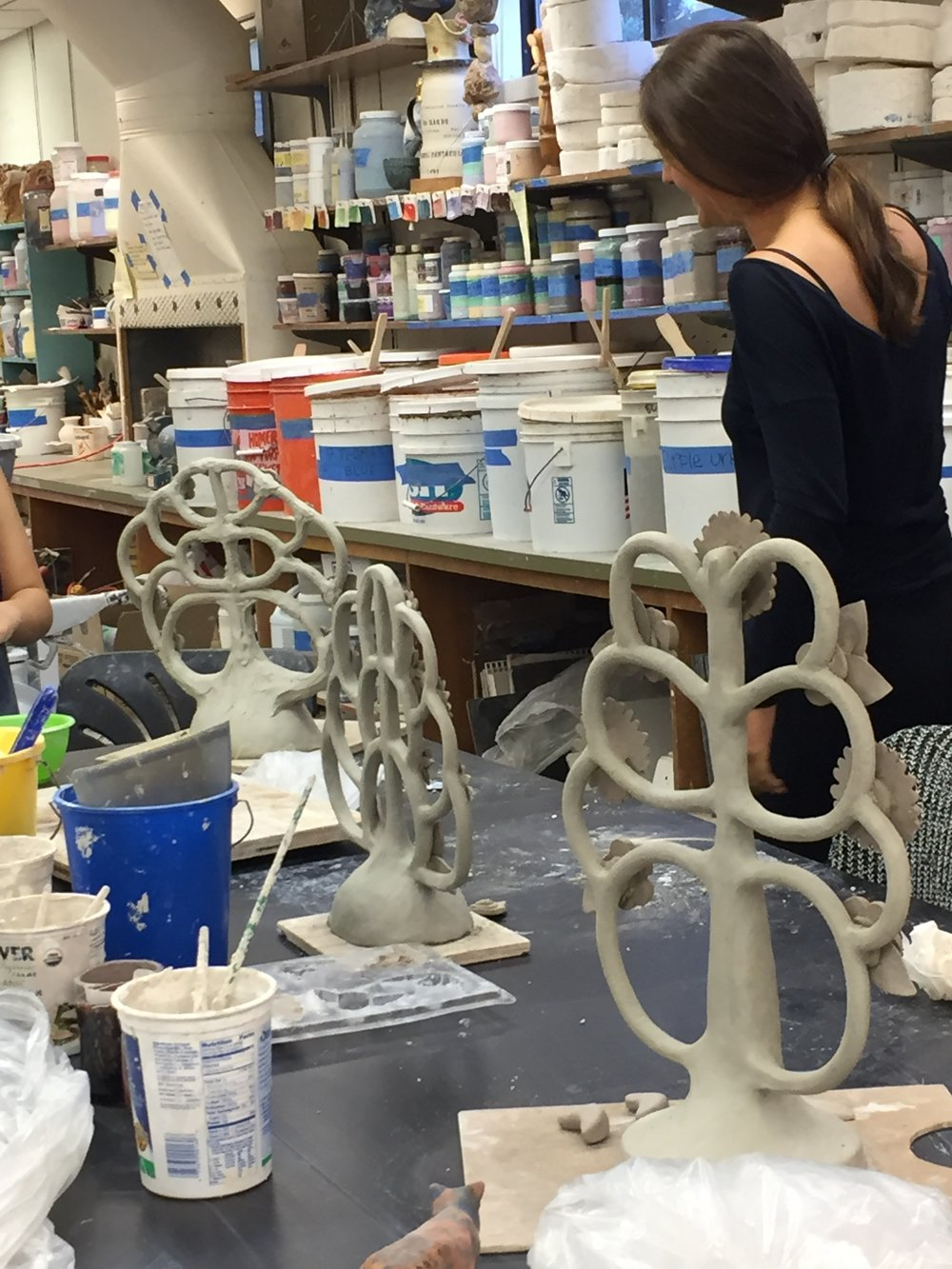 Ceramics students' tree of life sculptures in progress