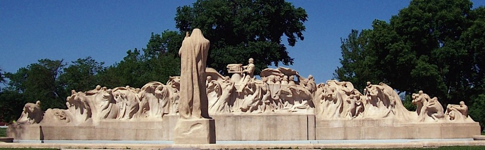 """Though his dreams for a museum did not pan out. Taft's epic """"Fountain of Time"""" still stands in Chicago, not far from the World's Fairgrounds of 1893."""